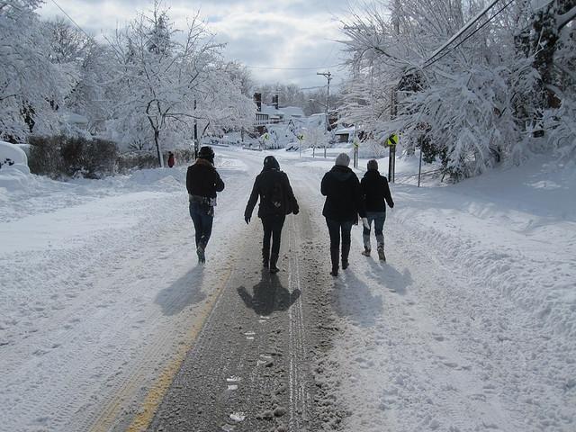 walking through blizzard
