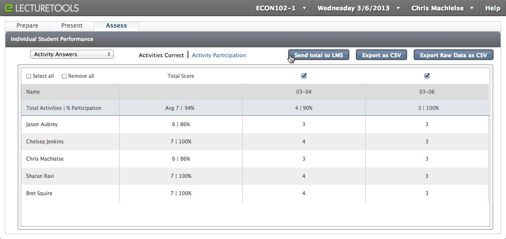 send assess to blackboard